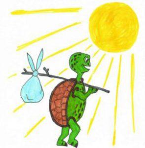 Schildkröte als Sinnbild für Slowtravelling